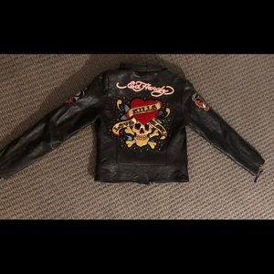 rare Ed Hardy 100% real leather jacket